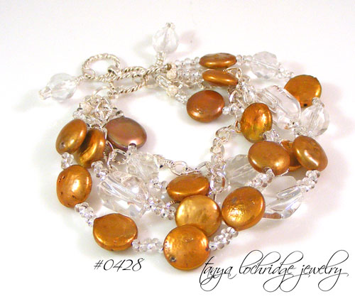 Mocha-Rose Coin Pearl & Crystal Quartz Gemstone Sterling Bracelet