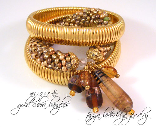 Brown & Gold Lampwork Bangle Bracelet