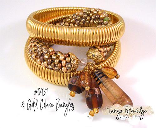 Brown & Gold Lampwork Bangle Bracelet
