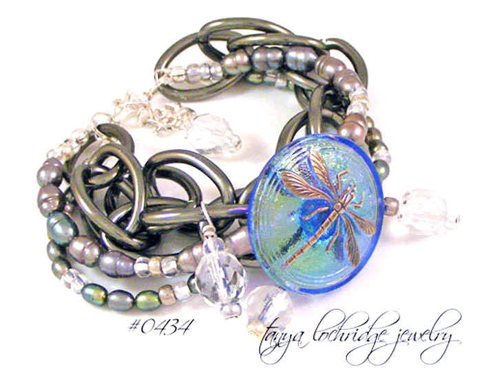 Dragonfly Vintage Glass Button & Pearl Gunmetal Bracelet