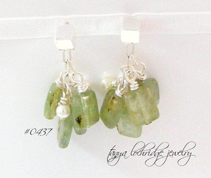 Kyanite Gemstone & Swarowski Pearl Sterling Silver Drop Earrings