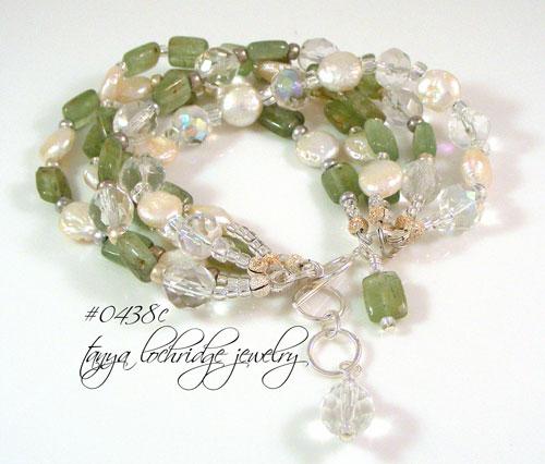 Kyanite Gemstone & Coin Pearl Five-Strand Sterling Silver Bracelet