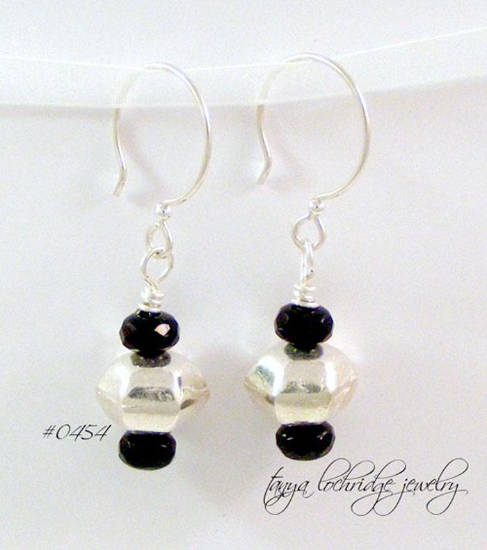 Sterling Silver Hexagonal Bead Drop Earrings