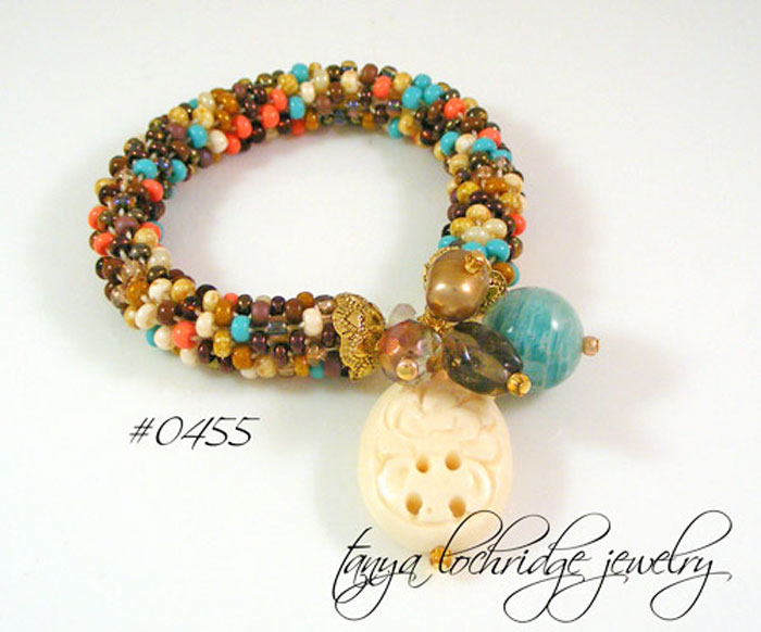 Russian Amazonite Gemstone & Floral Carved Bead Soft Bangle