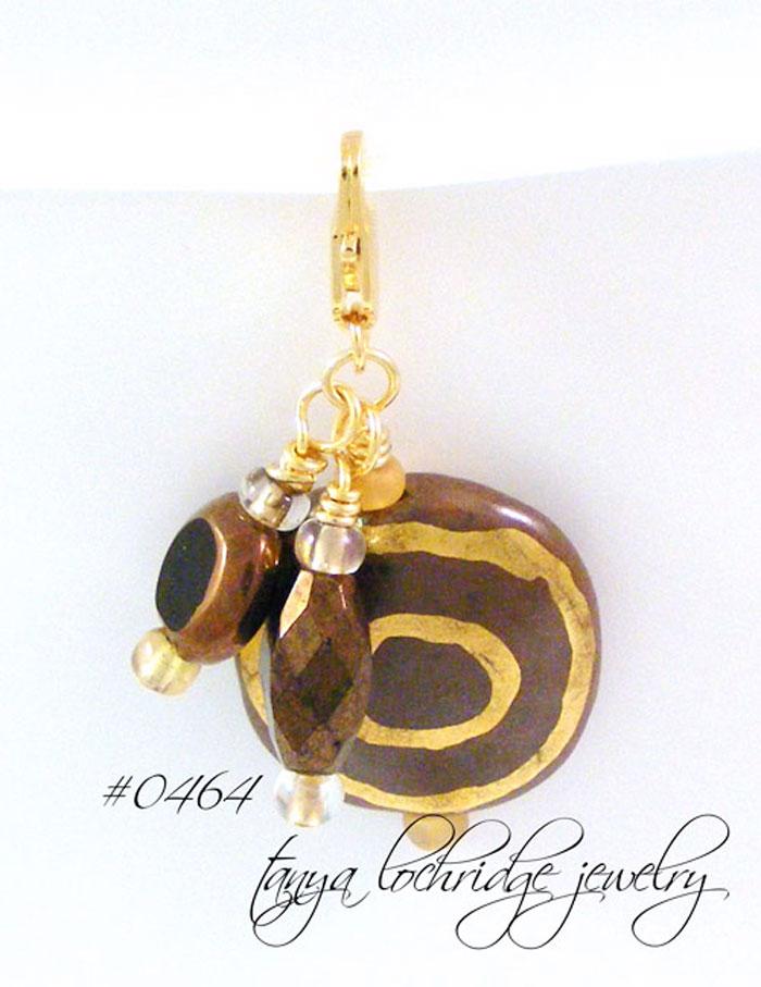 Kazuri Bead Matte Coco & Gold Charm