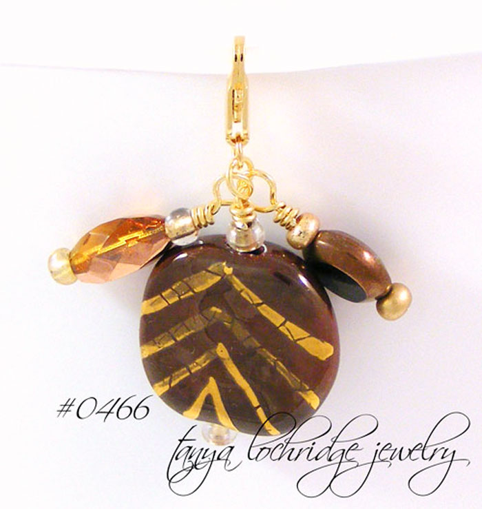 Kazuri Bead Dark Chocolate & Gold Charm