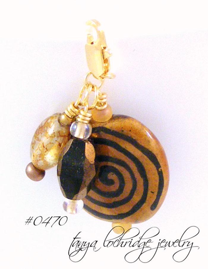 Kazuri Bead Spiral Charm