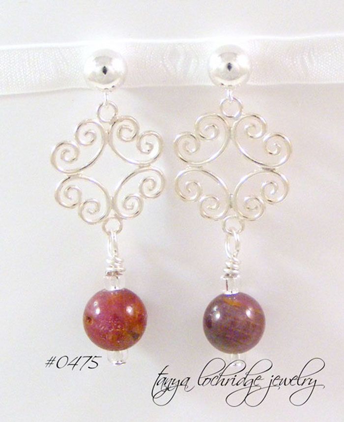 Ruby Gemstone Filigree Sterling Silver Drop Earrings