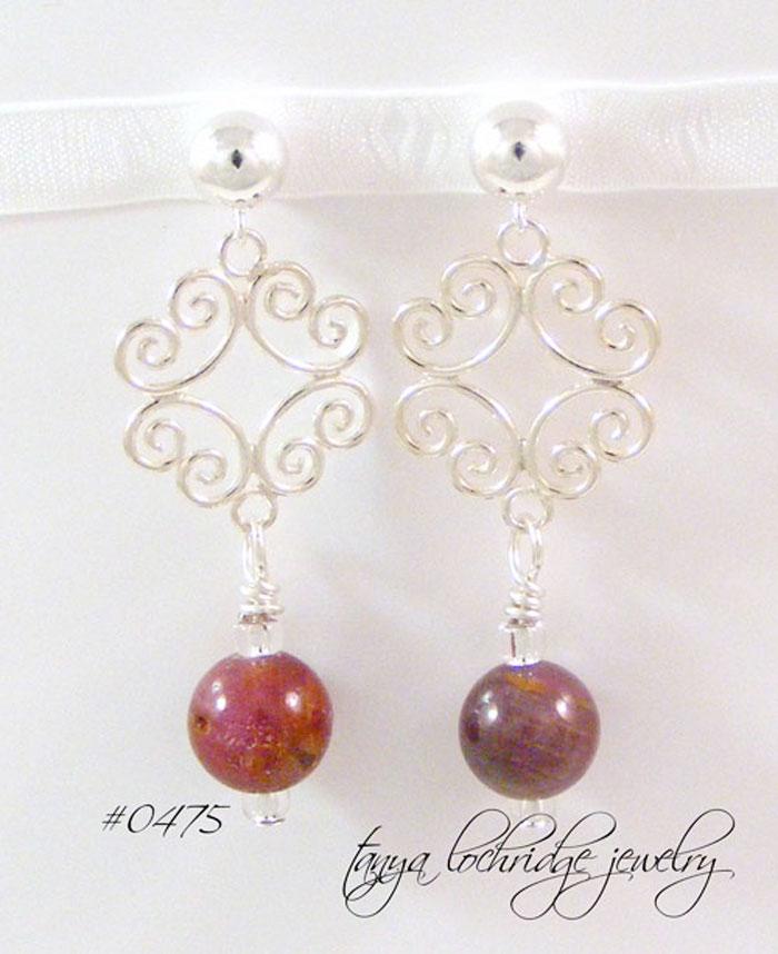 Ruby Gemstone Filigree Sterling Silver Drop Earrings
