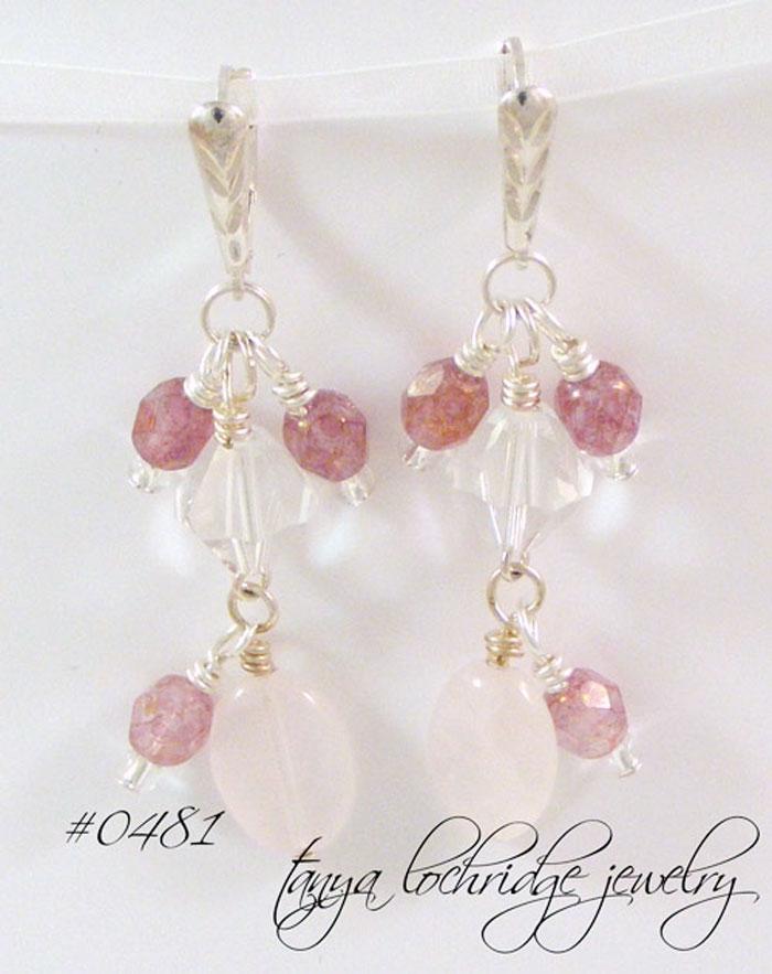 Rose Quartz Gemstone & Swarovski Crystal Sterling Silver Drop Earrings