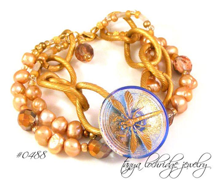 Dragonfly Czech Vintage Button & Pearl Bracelet
