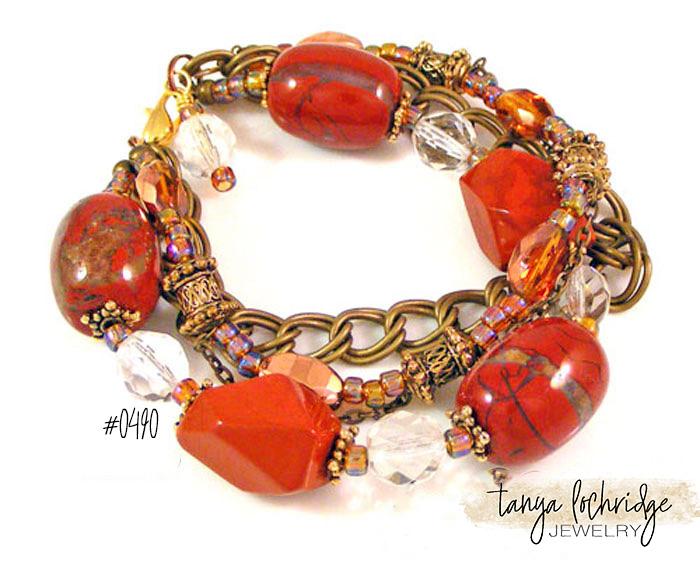 Red Jasper, Czech Glass Vintage Link 3-Strand Bracelet