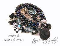 Black Satin Bead & Czech Glass Bangle
