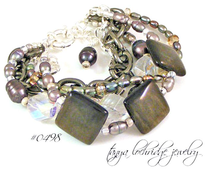 Rainbow Obsidian, Freshwater Pearl & Czech Glass 5-Strand Bracelet
