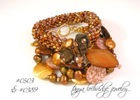 Brown-Black Mother of Pearl, Freshwater Pearl & Gold Vermeil Bracelet