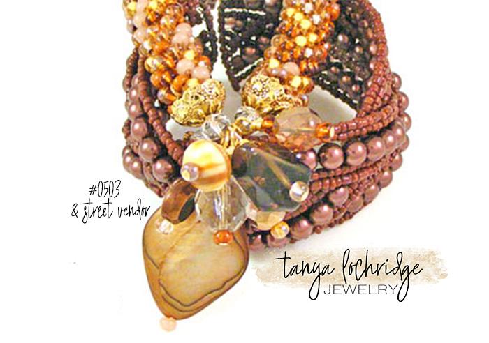 Smoky Quartz Gemstone, Mother-of-Pearl & Czech Glass Bangle
