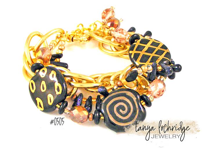 Kazuri Bead Three's the Charm Black & Gold Bracelet