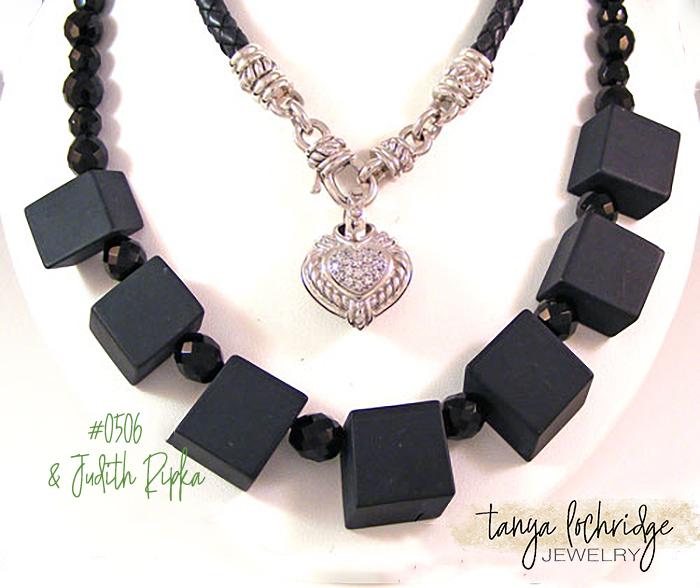 Onyx Brick Gemstone & Czech Glass Sterling Silver Necklace