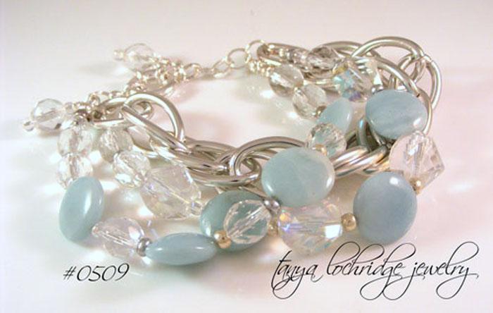 Amazonite Gemstone & Czech Glass Bold Bracelet