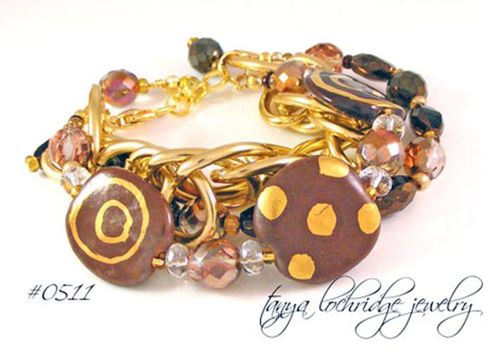 Kazuri Bead Coco Confection 3-Strand Bracelet