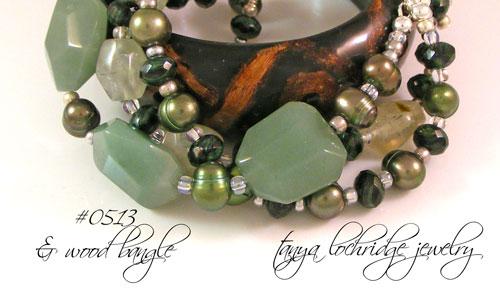 Green Aventurine, Prehnite Gemstone & Freshwater Pearl Bracelet