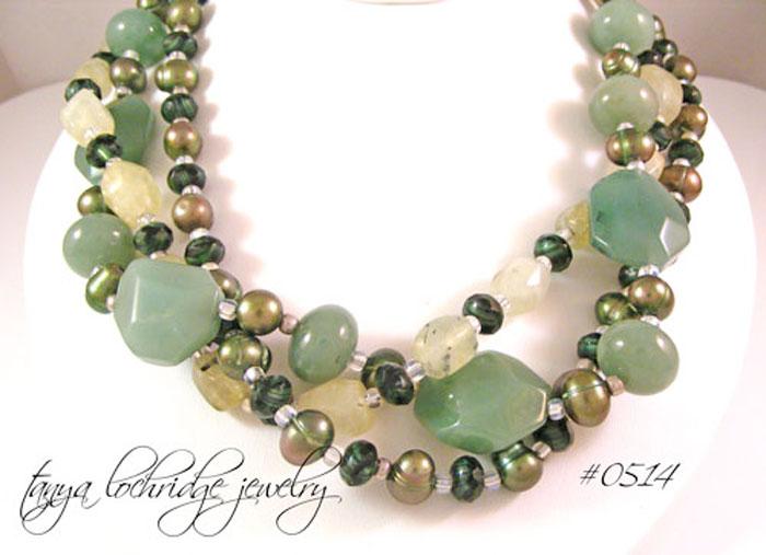Green Aventurine, Prehnite Gemstone & Pearl Sterling Silver Necklace