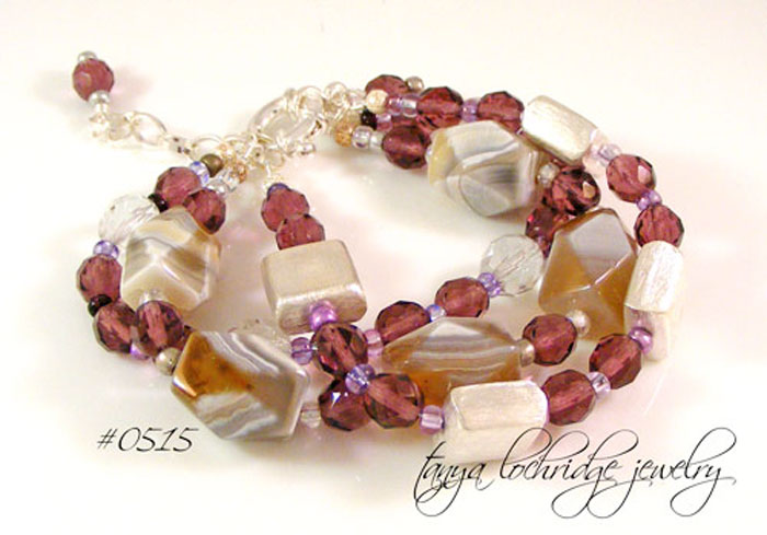 Purple Banded Agate & Czech Glass Three-Strand Bracelet