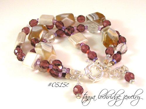 Purple Banded Agate & Czech Glass Three-Strand Bracelet