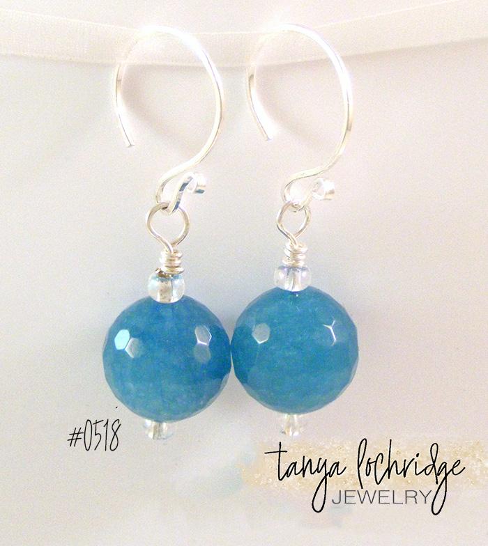 Angelite Gemstone Sterling Silver Drop Earrings