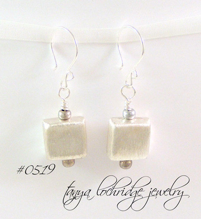 Sterling Silver Puffed Square Drop Earrings