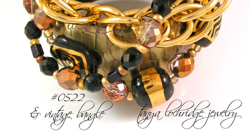 Kazuri Bead Three's the Charm 2 Black & Gold Bracelet