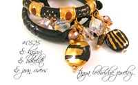 Knotted Charm Collector's Czech Glass Cord Bracelet Black