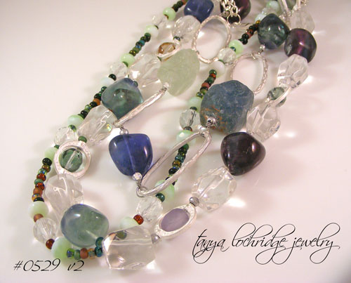 Fluorite & Crystal Quartz Gemstone Necklace