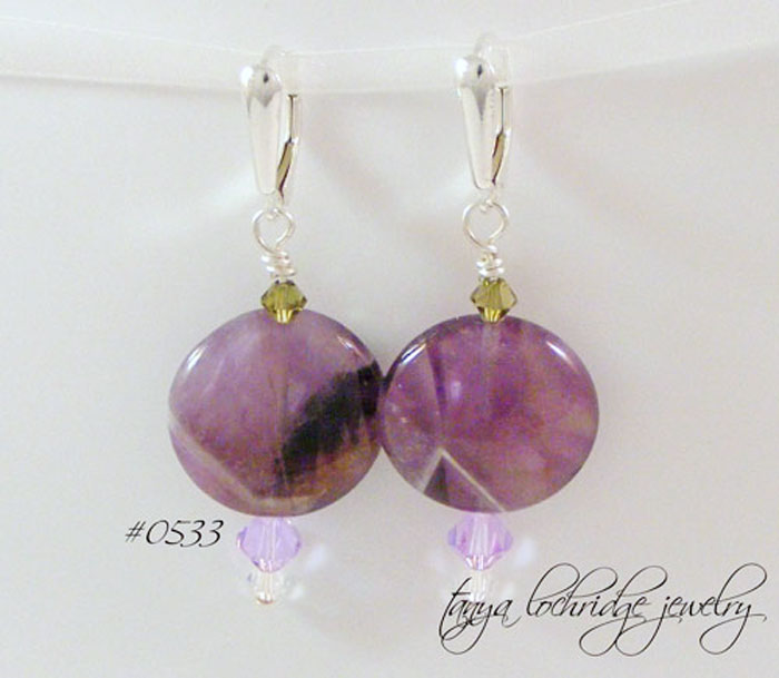 Cape Amethyst Gemstone Sterling Silver Shield Drop Earrings