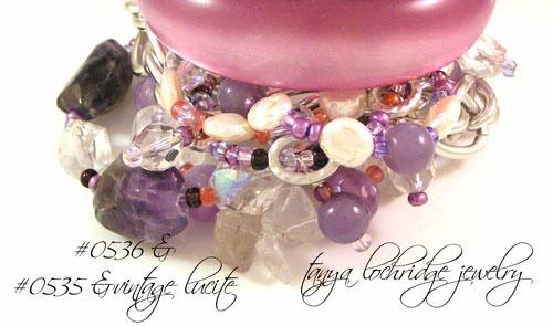 Lepidolite & Baroque Coin Pearl Three-Strand Bracelet