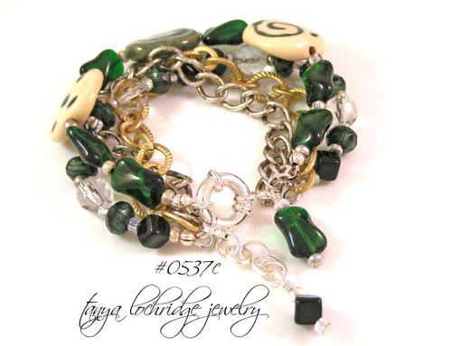 Kazuri Bead Cream & Greenwood Collection Bracelet