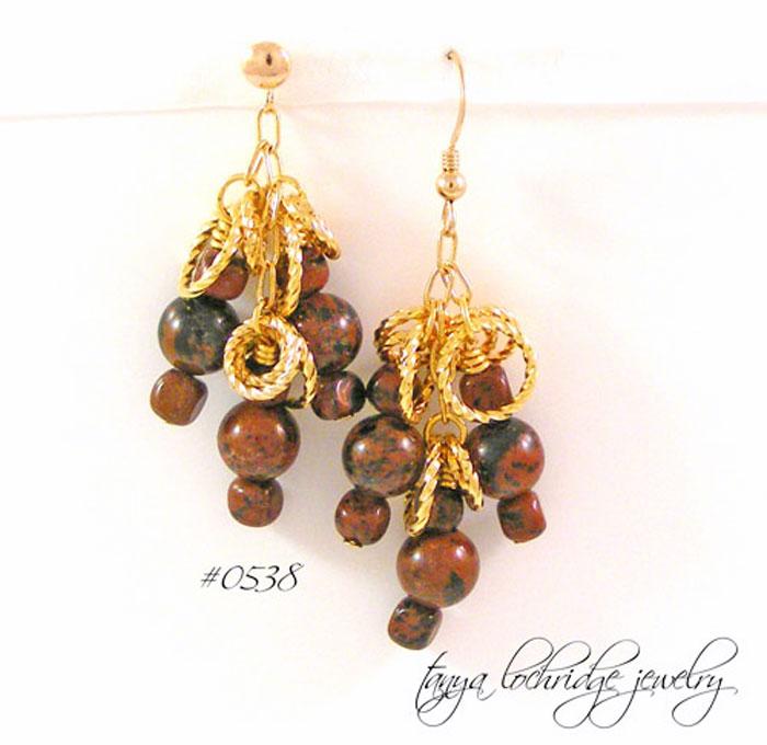 Mahogany Obsidian Gemstone Drop Earrings