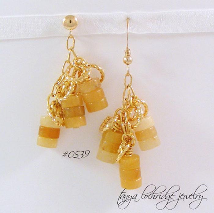 Honey Jade Drop Earrings