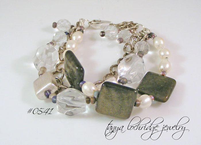 Golden Obsidian, Crystal Quartz & Freshwater Pearl Bracelet