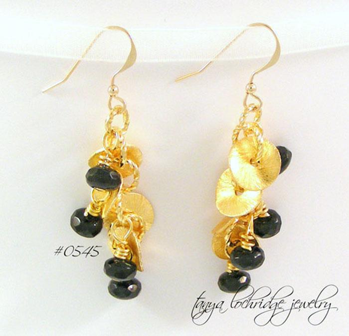 Florentine Gold & Czech Glass Jet Drop Earrings