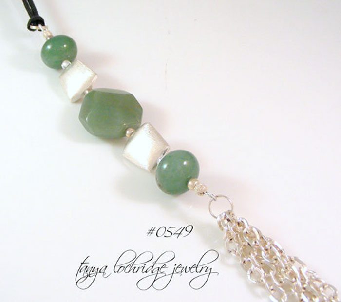 Green Aventurine Gemstone & Silver Tassel Gemstone Necklace