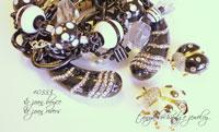 Black & White Resin Bead & Crystal Quartz Bracelet
