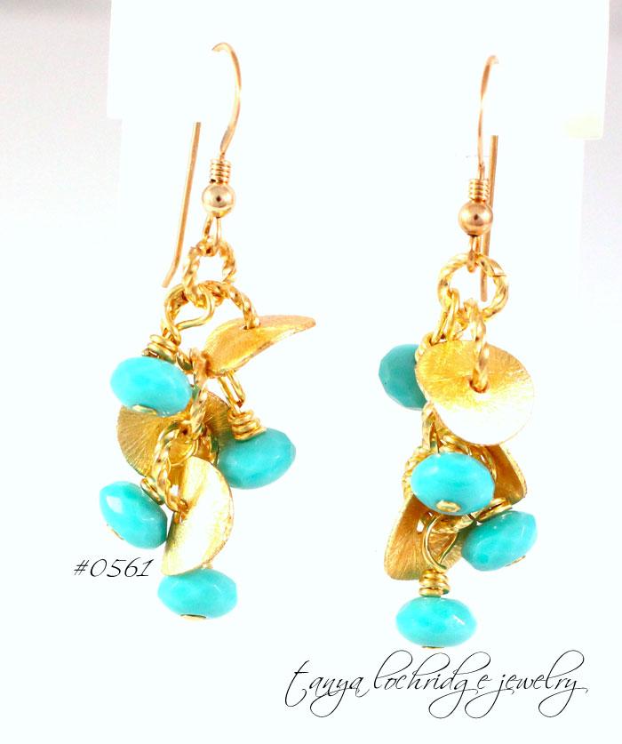 Florentine Gold Vermeil & Turquoise Czech Glass Drop Earrings