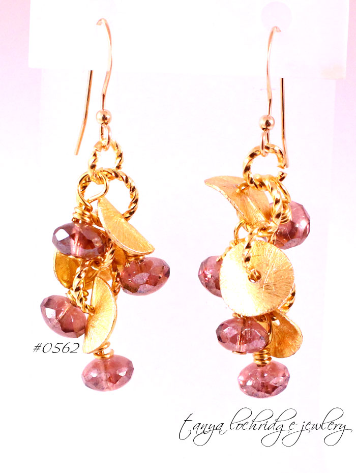 Florentine Gold Vermeil & Amethyst Czech Glass Drop Earrings