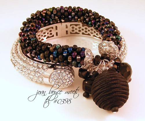Black Satin Bead & Czech Glass Bangle