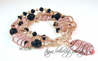 Pink-Black Lampwork Glass Bead Bracelet