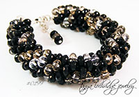 Black & Crystal Bead Bangle Bracelet