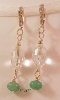 Amazonite & Swarovski Crystal Sterling Earrings