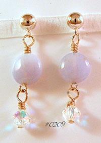 Blue Chalcedony Ball Post Earrings