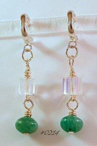 Amazonite & Swarovski Crystal Hoop Earrings